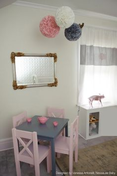 #RosiePope #nursery is pretty in Pink, Gold  Gray. Features sweet custom monogrammed draped by #Hoohobbers, a table and chairs for the kids to play  gorgeous handmade blooms by #Bellabtots Room designed by #VanessaAntonelli of #NessaLeeBaby