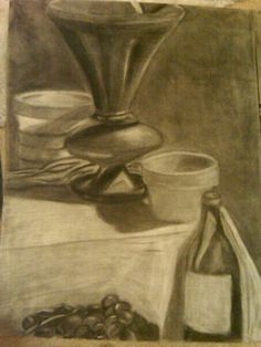 Charcoal still life drawing I thought this was really cool an good drawing. They are using charcoal to make it, which makes me wonder how exactly they did it so neatly. Is the charcoal the one like in grilling? Or is it just named the same thing? Xavier
