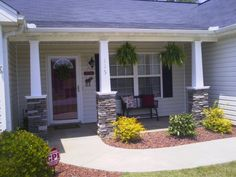 DIY stone craftsman style columns my husband and I did on front porch of our house