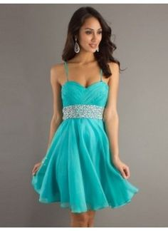 A-Line Spaghetti Straps Chiffon and Sequins Short Prom Dress