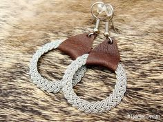 Nordic Viking Jewelry ASGARD Genuine Swedish Lapland Sami Earrings in Antique Brown Reindeer Leather and finest braided Pewter Wire Thread