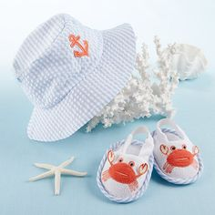 Coastal Cutie Sun Hat and Spa Booties Baby Boy Gift Set