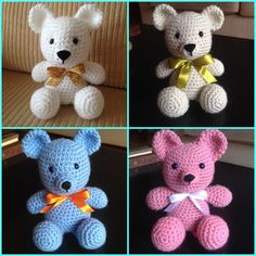 Ursinho de crochê                                                       … Crochet Teddy, Crochet Dolls, Crochet Baby, Crochet Toys Patterns, Stuffed Toys Patterns, Crochet Wreath, Amigurumi Toys, Crochet For Kids, Crochet Animals