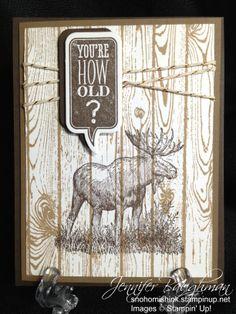 Simple masculine Stampin' Up! card by Jennifer Baughman. #Walk In The Wild, #Hardwood, #Just Sayin', #Gold Baker's Twine