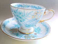 Tuscan Tea Cup and Saucer, Antique Tea Cups, Tea Set, Aqua Cups, English Bone China Cups, Tea Party, English Teacups, Antique Teacup by AprilsLuxuries on Etsy