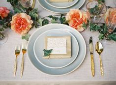 A Romantic, Sun-Drenched Wedding Reception / gold, blue, peach