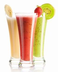 Photo about Smoothies isolated on white - strawberry, kiwi & banana. Image of banana, kiwi, background - 15107758 Fitness Smoothies, Smoothie Prep, Good Smoothies, Making Smoothies, Fruit Smoothies, Healthy Foods To Eat, Healthy Drinks, Healthy Dinner Recipes, Detox Drinks