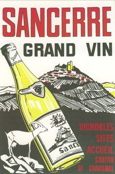 poster from Maison des Sancerre Bourges, St Denis, Wine Art, Creative Artwork, Sauvignon Blanc, Loire, Fine Wine, France Travel, Wine Drinks