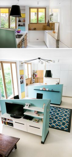 Kitchen Design Ideas - 14 Kitchens That Make The Most Of A Small Space // Half walls used throughout this apartment, including to separate the kitchen from the living area, help brighten the whole space and make the kitchen feel connected to the rest of the apartment.