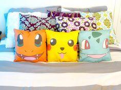 Pokemon character throw pillows. $30.00, via Etsy.