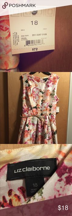 NWT, size 18 Liz Claiborne floral party dress. Floral chiffon dress with belted waist; super flattering and true to size! New with tags, originally $72 Liz Claiborne Dresses