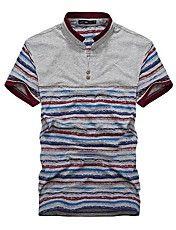 Erkek V Yaka şık Plaid T-Shirt – USD $ 40.99