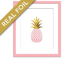 Gold Foil Pink Pineapple Art Print - Food Poster - Real Foil Kitchen Wall Art Print - Gold Food Art - Gift for Chef - Tropical Fruit Art