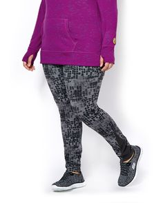 """For the love of exploring! Lightweight, warm and everything you need to move freely and comfortably, this plus-size activewear legging features:<br /><br />- Pull-on ribbed waistband<br />- Abstract print<br />- Ribbed insert at bottom sides<br />- Jersey fabric that's thermal to help you stay warm in low temperatures and breathable to keep you comfortable during your workout<br />- 29"""" inseam"""