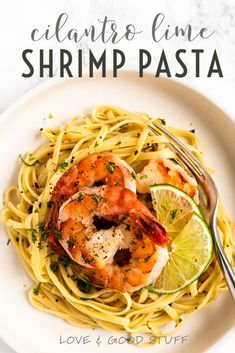 Linguini tossed in a white wine, garlic and butter sauce with lime juice and cilantro then topped with seasoned shrimp.  This light and refreshing cilantro lime shrimp pasta is a quick and easy meal you'll want to eat again and again! Yummy Pasta Recipes, Risotto Recipes, Shrimp Recipes, Easy Recipes, Whole Food Recipes, Vegetarian Recipes, Dinner Recipes, Salmon Pesto Pasta, Creamy Salmon Pasta