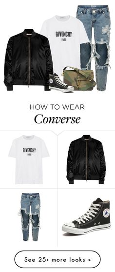 """""""Givenchy Bomber Jacket"""" by rusinn on Polyvore featuring One Teaspoon, Givenchy, Yves Saint Laurent and Converse"""