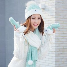 563a07f9d10 Knitted bobble hat scarf and gloves set winter fleece pom pom winter hats  for women