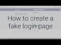 HOW TO CREATE FAKE FACEBOOK LOGIN PAGE - (More Info on: http://LIFEWAYSVILLAGE.COM/videos/how-to-create-fake-facebook-login-page/)
