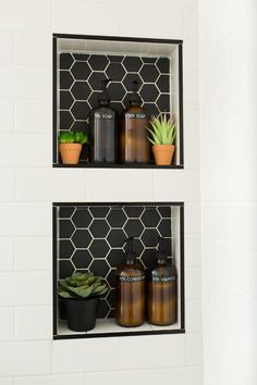 Alameda Black 2 Matte Hexagon Mosaics Paired with Snow White Gloss Ceramic Subway Tiles Interior Decorating, Bathroom Interior Design, Hexagonal Mosaic, White Bathroom, Bathroom Tile Designs, Bathrooms Remodel, Bathroom Decor, Beautiful Bathrooms, Bathroom Redo