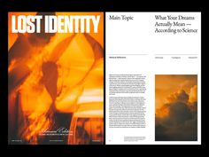 Lost Identity Mag — Version 02 by Marko Cvijetic on Dribbble Show And Tell, App Design, Identity, The Good Place, Dreaming Of You, Lost, Branding, Graphic Design, Layouts