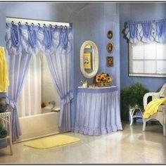 Incredible Bathroom Shower Curtains Sets & soft Light Purple Wall Color &  White Fiber Bathtub