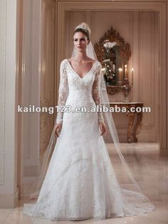 Brand New V-neck Sheer Long Sleeves A-line Chapel train Keyhole back Beaded Lace Overlay Satin Arabic Wedding Dress