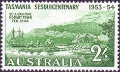 Stamps of Australia 1953 270 Tasmania Settlement Fine Mint SG 270 Scott 266 Buy Stamps, Love Stamps, Stamp World, Australian Painting, Vintage Artwork, Commonwealth, Stamp Collecting, Tasmania, Postage Stamps