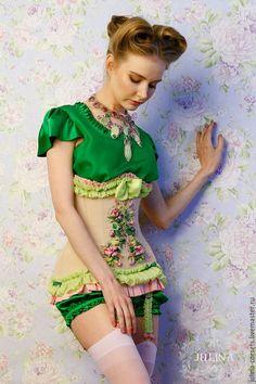 """Gorgeous corset with ribbon embroidery / Купить Корсет """"Симфония лета"""", натуральный шелк, ручная вышивка - ярко-зелёный, зеленый, салатовый"""