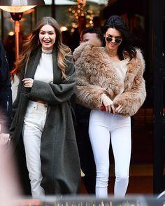 Kendall and Gigi leaving the Mandarin Hotel in Paris #kendalljenner #gigihadid @kendalljenner @gigihadid