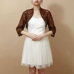 3/4 Sleeve Lace Evening/Wedding Wrap/Jacket (More Colors) – USD $ 59.99