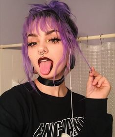 hair and purple hair image Hair Color Purple, Green Hair, Lilac Hair, Edgy Hair Colors, Punk Hair Color, Purple Hair Streaks, Scene Hair Colors, Blonde Streaks, Color Streaks