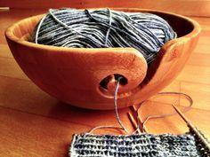 DiY Bamboo Yarn Bowl using Dremel tool. I want the Yarn bowl. Yarn Bowls Diy, Wooden Yarn Bowl, Wooden Bowls, Yarn Crafts, Diy Crafts, Creation Couture, Wooden Diy, Wooden Crafts, Wood Turning