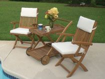 Sailor 3 Piece Teak Patio Bistro Set W/ Tray Cart And Sunbrella Canvas Natural Cushions By Royal Teak Collection