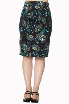 Banned 1950s Proud Peacock Pencil Skirt