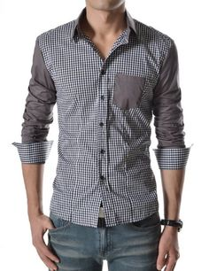 (CHS1) TheLees Mens NWT Mens casual Plaid check slim Dress Shirts BLACK Medium(US Small) TheLees, MENS FASHION if you wish to buy just CLICK on AMAZON right HERE http://www.amazon.com/dp/B00CBQ0B2S/ref=cm_sw_r_pi_dp_mTH1sb09N38HCGN8