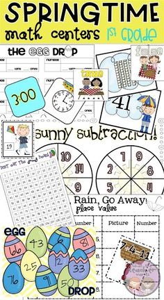 1st grade math activities, centers and games for spring!