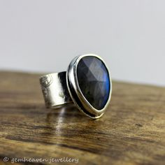 "Sterling silver and Labradorite Rose Cut ""I wish"" gemstone rose cut ring by gemheaven jewellery"