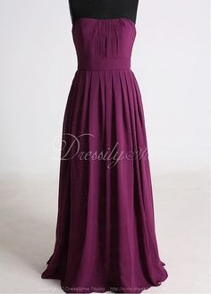 Gracious Strapless Full-length Crepes Chiffon Bridesmaid Dress