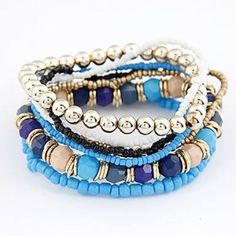 Bohemian Style Bracelet; several bracelets connected together to reflect your Boho style  Elastic bracelets, to allow you to stretch over your wrist