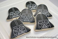 Darth Vader Star Wars Cookies for Birthday Party, Star Wars Movie Night, Star Wars Theme Party. $36.00, via Etsy.