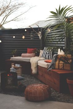 Outdoor living space. Looks cozy and inviting for entertaining.
