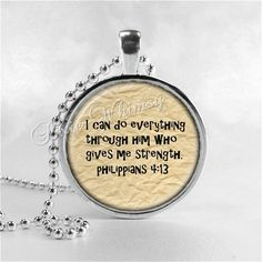 BIBLE SCRIPTURE QUOTE Necklace Christian Jewelry by PixieWhimsy, $8.95