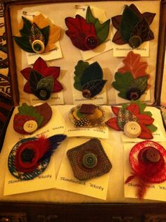 Collection of brooches , made from felt, Harris tweed and Vintage buttons