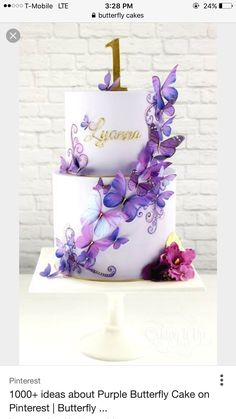 15 Ideas Cupcakes Decoration Butterfly Baby Shower - Emma's baby shower - Butterfly Birthday Cakes, Butterfly Cakes, Birthday Cake Girls, Purple Butterfly Cake, Cakes With Butterflies, Purple Birthday Cakes, Birthday Ideas, Butterfly Baby Shower, Butterfly Party