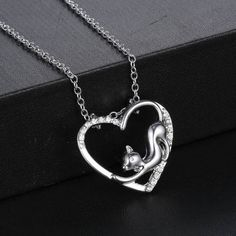 Cat in Heart Pendant Necklace