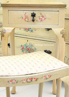 Vintage Home Shop - Antique 1940s Hand Painted Roses Boudoir Stool and Console Table: www.vintage-home.co.uk
