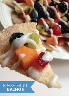 Summer Fresh Fruit Nachos is a quick and easy snack recipe that's perfect for summer. Plus, your kids can build their own personal plate full of their favorite fresh fruit. Top it with a tasty yogurt salsa and enjoy!