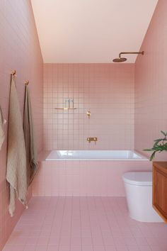 This New House Covered With Shingles Adds Some Woodly Charm To The Street Bathroom Ideas - This modern pink bathroom adds a fun and soft pop of color to the interior. Gold Bathroom, Bathroom Interior, Modern Bathroom, Bathroom Ideas, Bathroom Small, Bathroom Organization, Upstairs Bathrooms, Rustic Bathrooms, Retro Bathrooms