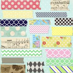 Set of 20 Digital Mega Pack Washi Tape for by pinkpearlstudio, $4.25