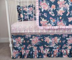 Navy Floral Pink Blue White Butterflies Bumperless Baby Girl Crib Cot Bedding with Blanket (Pillow is Optional)